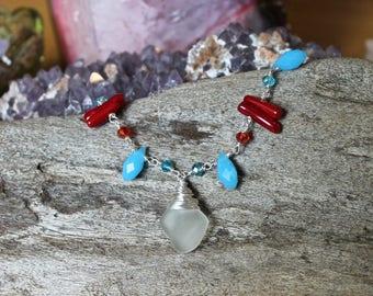 Sea Glass Bracelet - Red, White & Blue - Americana Jewelry - Hawaii Seaglass Jewelry - Ocean Inspired - Mermaid Bracelet - Hawaiian Bracelet