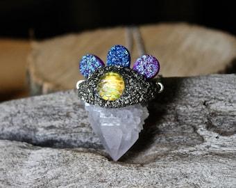 Druzy & Spirit Quartz Necklace w/ Mermaid Scales - Druzy Jewelry - Mermaid Necklace - Colorful Crystal Necklace - Boho Chic Gypsy Jewelry