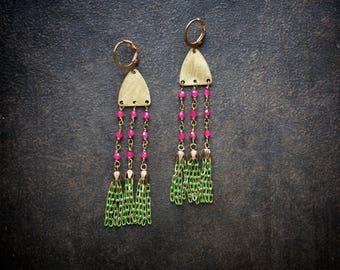 Boho Tassel Earrings Green Raw Brass Festival Rosary Chain Enameled Chain Tassel India Pink Crystal Bohemian Gypset Long Chandelier