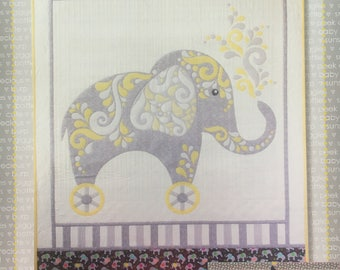 """Bailee Baby Elephant Pattern from Cherry Blossoms - Quilt 36"""" x 47"""""""