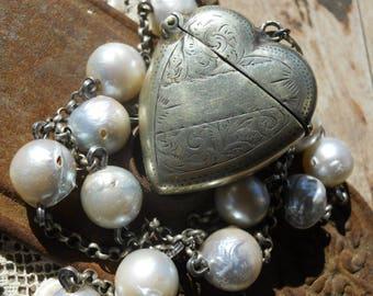 Hearts Desire              Antique Heart Vesta Locket South Sea Pearl Assemblage Necklace