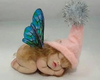 OOAK Handmade Baby Fairy, Polymer Clay sculpture,miniature, Butterfly,fantasy,fairy garden,Pixie