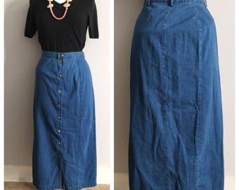 Vintage Denim Button Up Skirt // Vintage Jean Skirt