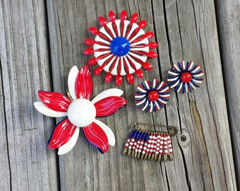 Collection of Red, White, Blue Brooches, Pin, Clip On Earrings, Metal Flower Brooches, Metal Flower Earrings, Seed Bead Pin