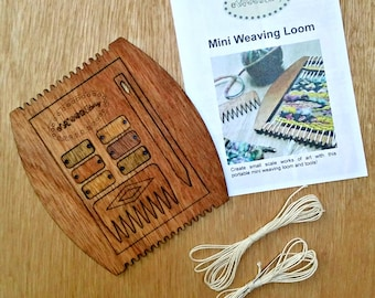 Mini Wooden Weaving Loom with Instruction Booklet, Needle, Comb, and PersonalizationTags