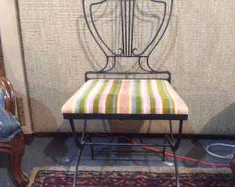 Iron and Brass folding decorator chair Lyre back- swan accent -