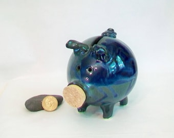 Piggy Bank - Midnight Blue and Teal, Blue/Green - Handmade on the Potters Wheel - Piggy Bank  - Ready to Ship - Unique Gift, OOAK