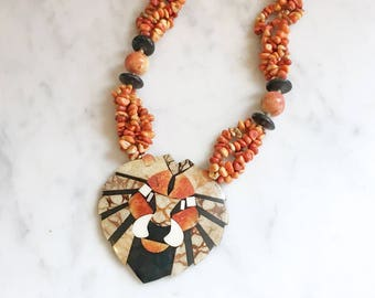 Vintage 90s Apple Coral and Tigar Sponge Inlay Lion Pendant Necklace by Lee Sands