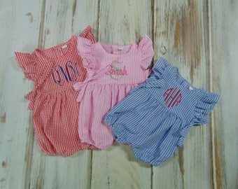 Monogram Girls Rompers- Gingham Check Girls Rompers for Summer- Pastel Personalized Rompers