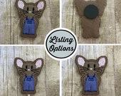 Blue Jean Mouse Feltie/Stitchie, Magnet, Personal Planner Clip/Bookmark, Page Marker, Cupcake Topper