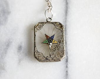 Antique Camphor Glass Pendant Daughters Of The Eastern Star c.1920s