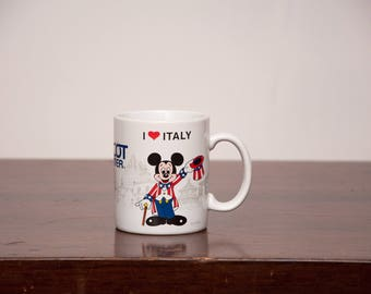 Vintage Epcot Mickey Mug - World Showcase I Love Italy - Epcot Center Italy Pavilion Coffee Mug - VTG EPCOT Souvenir - Vtg Wdw Memorabilia