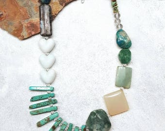 Mixed Bead Chunky Asymmetrical Turquoise Statement Necklace