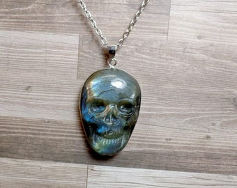 Labradorite Skull Necklace - Carved Gemstone Necklace - No. 10 - Free US Shipping