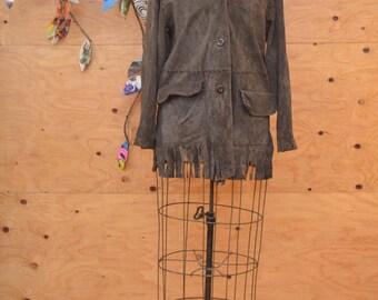 Vintage 70's Brown Suede Fringe Pioneer Wear Coat Mens Or Womens Soft Comfy Size Medium