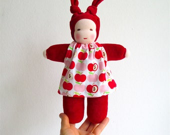 Organic soft doll, red, apples, dress, baby girl gift, toddler birthday gift, light skinned, Waldorf style doll, doll natural materials
