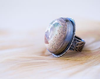 Mexican Raw Fire Opal Ring, Sterling Silver Ring - Boulder Opal Ring - HUGE OPAL - Collector Stone - Keeper of Secrets - Size 8