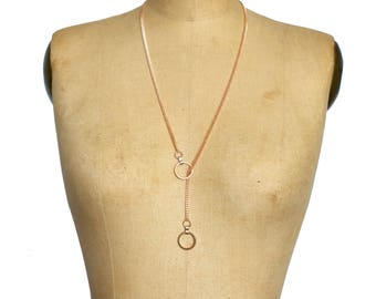 Rose Gold Rings Lariat Y Necklace