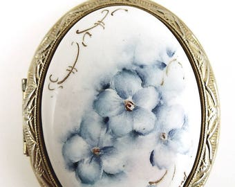 Vintage Hand Painted Ceramic Locket - Blue Flowers Locket - Nieland Signed Locket - Destash Jewelry Supplies - Vintage Pendant