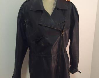 VINTAGE LEATHER JACKET Begedor Itaila, 1980's, Punk, Ramones, Leather Coat, Black Leather, Harley Davidson Style at Modern Logic