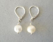 GENUINE PEARL EARRINGS, 925 Silver Leverback Earwires, Summer Wedding Jewelry, Kate Middleton Inspiration, Girls First Pearls, Gift Under 20