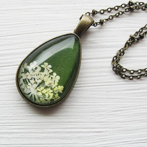 Real Pressed Flower Necklace - Olive Green and White Queen Anne's Lace Botanical Teardrop Necklace
