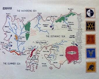 Game of Thrones cross stitch pattern Essos map