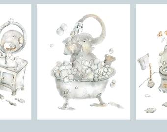 Set of 3, Elephant Bathroom Prints, Elephant Print Set, Elephant Baby Gift, Kid's Bathroom Art, Wash, Brush, Flush, Bathroom Decor