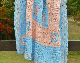 Crochet Afghan Blue PEACH Granny Square Baby Blanket Couch Throw Gift for Boys Girls Women Knitted Bedding Home Decor