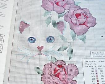 Cats and Flowers Cross Stitch Charts Leisure Arts Vintage 1985 DIY Craft Pattern Book Color Illustration 4 designs