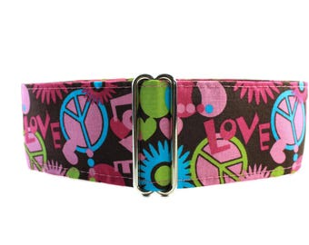 2 inch Martingale Collar, Flower Power Martingale Collar, Flower Power Dog Collar, Peace Sign, 70's, Love Child, 2 inch Wide Dog Collar