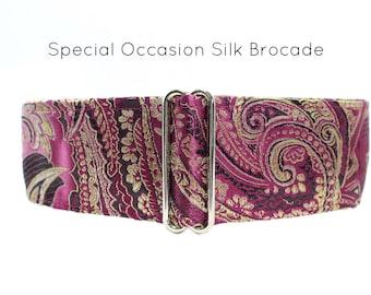 Silk Brocade Martingale Collar, Greyhound Collar, 2 Inch Martingale Collar, Fuchsia Martingale Collar, Silk Brocade Martingale Collar
