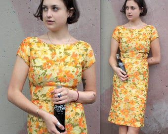 Vintage 1960's Dress // 60s Orange, Yellow and Green Daisy Floral Print Wiggle Dress // Sheer Chiffon Overlay with Cap Sleeves