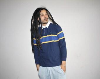 Vintage 90s Tommy Colorblock Hip Hop Athletic Dress Shirt - 1990s Tommy Shirt - 90s Clothing - MV0469