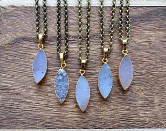 Gold Brass Marquise Druzy Necklace/ Druzy Quartz Necklace/ Quartz Druzy Summer Necklace/ Gemstone Bohemian Necklace (EP-BND23)
