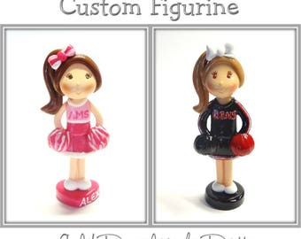 Custom Cheerleader Cake Topper, Personalized Cold Porcelain Clay Cheerleader Figurine, Football Cake Topper, Cheerleader Keepsake, Gift