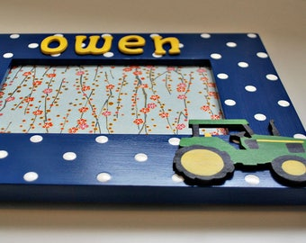 Tractor frame for kids Personalized tractor picture frame for children