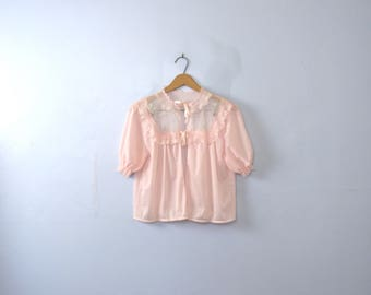 Vintage 60's pink frilly bed coat, pink lingerie top, size medium / small