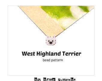 Brick Stitch West Highland Terrier Dog PATTERN, Miyuki Delica Bead Weaving