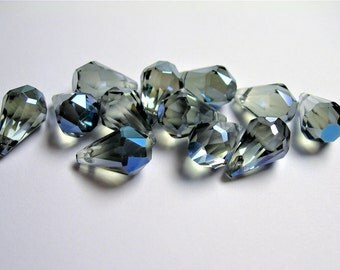 Crystal briolette  - 12 pcs - 9mmx14mm - top sideways drill - Faceted teardrop crystal  beads - mystic glacier blue - CBC8