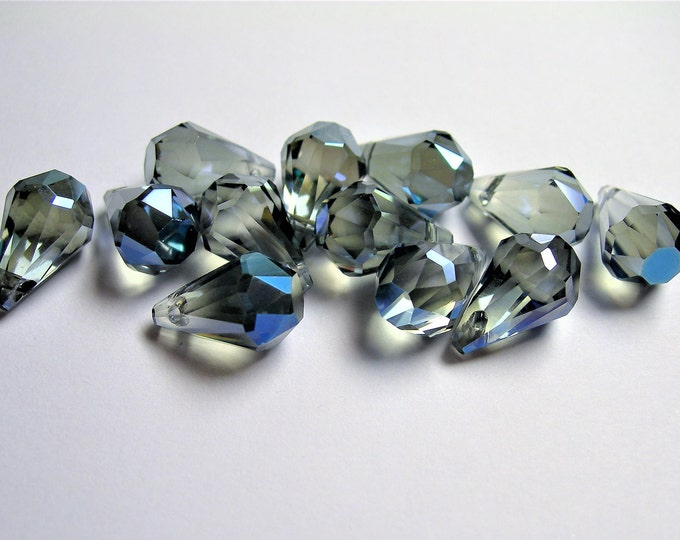 Crystal briolette  - 12 pcs - 9mmx14mm - top sideways drill - Faceted teardrop crystal  beads - mystic glacier blue - CBC8