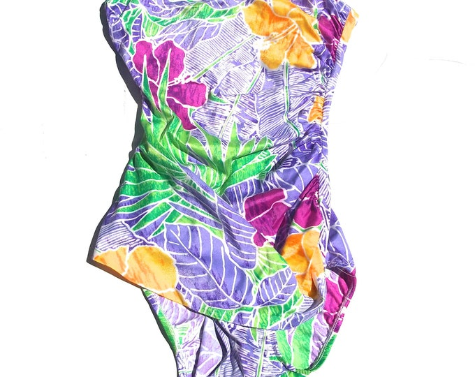 Strapless One Piece   tropical print 90s vintage tube top onesie bathing swimsuit swimming womens small S medium M colorful floral fuchsia
