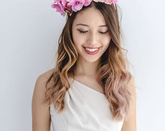 pink flower crown // races statement flower crown / spring racing flower crown headband / flower fascinator bohemian