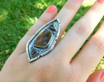 Ammonite ring | Size 7 | Fossil ring | Sterling silver ring | Boho shield ring | multi stone ring | artisan metalwork