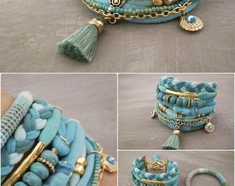 Bohemian Bracelet Turquoise Gypsy Seafoam Boho Bracelet Set, Tassel Bracelet, Azure TShirt Bracelet Beach Boho Jewelry