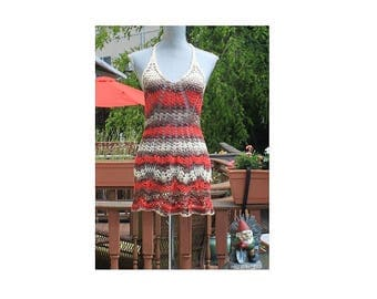 SALE :  Crochet beach dress/ open back / One Of A Kind/red brown beige color/  Small size/ Ready to Ship