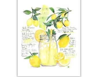 Homemade lemonade recipe art print, Watercolor lemon poster, Yellow kitchen decor, Bright dining room decor, Kitchen wall art, Lemon print