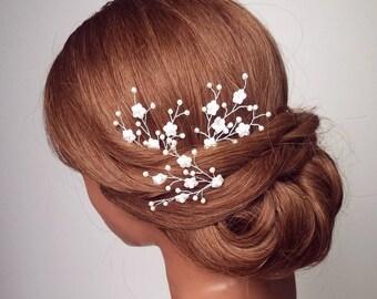 Babies Breath Hair Pins, Flower Hair Comb, Baby's Breath Head Piece, Wedding Hair Accessory, Bridal Hairpiece, Hair Vine, Hair Accessory