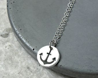Sterling Silver Anchor Charm Necklace
