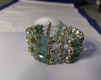 3 strand crystal and silver bracelet